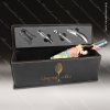 Engraved Etched Leather Wine Tool Set Black/Gold Presentation Box Gift Leather Wine Gifts