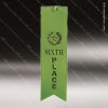 Green 6th Place Ribbon Peaked Bottom Award Ribbons