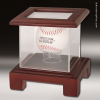 Display Case Acrylic Wood Cherry Finish for Baseball or Hockey Puck Resin Sculpture Trophies