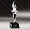 Premium Cast Eagle Fly Free II Crystal Base Trophy Award Silver Eagle Sculpture Trophy Awards