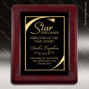Engraved Rosewood Plaque Framed Black Plate Gold Star Wall Placard Award Star Themed Plaques