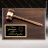 Engraved Walnut Plaque Gavel Mounted Black Plate Wall Plaque Award Walnut Gavel Plaques