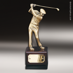 Premium Resin Metallic Cast Series Golfer On Wood Base Achievement Trophy Awards