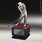 Golfer On Wood Base Achievement Trophy Awards