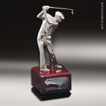 Golfer #3 On Wood Base Achievement Trophy Awards