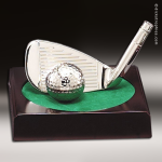 Cast Silver Rosewood Accented Golf Iron and Ball Trophy Award Achievement Trophy Awards
