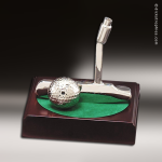 Cast Silver Rosewood Accented Golf Putter and Ball Trophy Award Achievement Trophy Awards