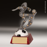 Resin Action Star Series Soccer Trophy Award - Female Action Star Resin Trophy Awards