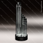 Crystal Black Accented Mirrored Olympus Trophy Award All Clear Crystal Awards