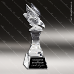Crystal  Eagle On Riser Trophy Award All Clear Crystal Awards