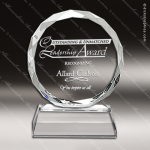 Crystal  Circle With Diamond Edge Trophy Award All Clear Crystal Awards