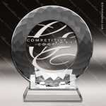 Crystal  Plate Faceted Edge Trophy Award All Clear Crystal Awards