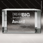 Crystal  Rectangle Beveled Back Trophy Award All Clear Crystal Awards