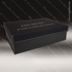 Engravable Gift Award Presentation Box - Leather Black W/ Gold Letters All Display Cases