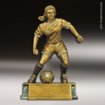Resin Antique Gold Series Soccer Female Trophy Award Antique Gold Resin Trophy Awards
