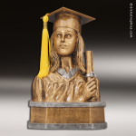 Resin Antique Gold Series Scholastic Graduation Bust Female Trophy Award Antique Gold Resin Trophy Awards
