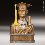 Resin Antique Gold Series Scholastic Graduation Bust Male Trophy Award Antique Gold Resin Trophy Awards