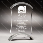 Acrylic Silver Accented Pinched Clear Investment Trophy Award Arch Shaped Acrylic Awards
