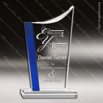 Acrylic Blue Accented Elegant Arch Swoop Trophy Award Arch Shaped Acrylic Awards