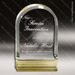 Acrylic Gold Accented Arch Triple Cut Trophy Award Arch Shaped Acrylic Awards