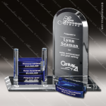 Crystal Blue Accented Arch Goal-Setter Trophy Award Arch Shaped Crystal Awards