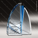Crystal Blue Accented Dual Arch Trophy Award Arch Shaped Crystal Awards