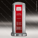 Crystal Red Accented Arch Ambient Trophy Award Arch Shaped Crystal Awards