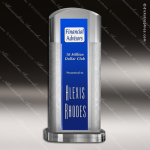 Crystal Blue Accented Arch Ambient Trophy Award Arch Shaped Crystal Awards