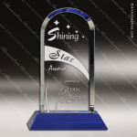 Crystal Blue Accented Dome Trophy Award Arch Shaped Crystal Awards