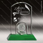 Crystal Sport Green Accented Golf Ball Arch Trophy Award Arch Shaped Crystal Awards