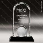 Crystal Sport Black Accented Golf Ball Dome Trophy Award Arch Shaped Crystal Awards