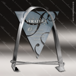 Glass Silver Accented Triangle Agility Trophy Award Arch Shaped Glass Awards