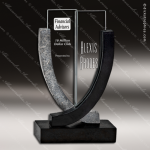Glass Black Accented Arch Chalice Trophy Award Arch Shaped Glass Awards