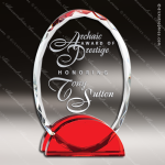 Macneir Oval Glass Red Accented Trophy Award Arch Shaped Glass Awards