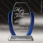 Machover Arch Glass Blue Accented Barrel Trophy Award Arch Shaped Glass Awards