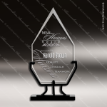 Jaeger Diamond Glass Black Accented Vintage Stand Trophy Award Arrowhead Shaped Glass Awards