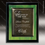 Engraved Black Piano Finish Plaque Green Metallic Fusion Art A Art Glass Plaque Collection