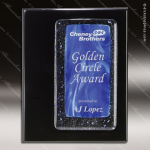Engraved Black Piano Finish Plaque Blue Sapphire Fusion Art Aw Art Glass Plaque Collection