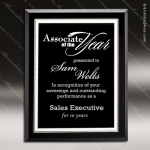 Taejon Silver Glass Black Accented Rectangle Plaque Silver Borders Trophy Art Glass Plaque Collection