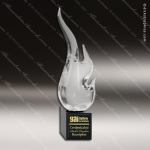 Artistic Black Accented Art Glass Sculpture Jacara Flame Torch Trophy Award Artistic Glass Awards