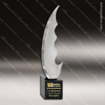 Artistic Black Accented Art Glass Jacarei Saber Sculpture Trophy Award Artistic Glass Awards