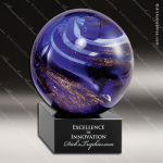 Madison Sphere Artistic Blue Accented Art Glass Sculpture Trophy Award Artistic Glass Awards