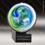 Taillfer Disk Artistic Blue Accented Art Glass Sculpture Sphere Trophy Artistic Glass Awards
