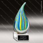 Tagger Droplet Artistic Multi Blue Green Art Glass Flame Trophy Award Artistic Glass Awards