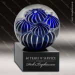 Tactus Sphere Artistic Blue Accented Art Glass Sculpture Trophy Award Artistic Glass Awards