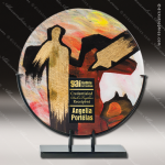 Marsille Circle Artistic Red Native American Art Glass Plaque Trophy Award Artistic Glass Awards