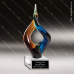 Mambo Horn Artistic Multi-Colored Blue Accented Art Glass Sculpture Trophy  Artistic Glass Awards