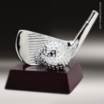 Cast Silver Rosewood Accented Golf Wedge Trophy Award Ball Trophy Awards