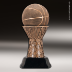 Premium Resin Bronze Sports Theme Basketball on Net Trophy Award Ball Trophy Awards