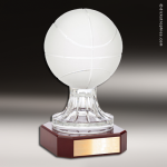 Crystal Sport Rosewood Accented Basketball Trophy Award Ball Trophy Awards